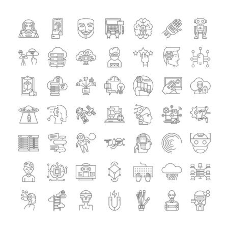 Augmented reality line icons, signs, symbols vector, linear illustration set