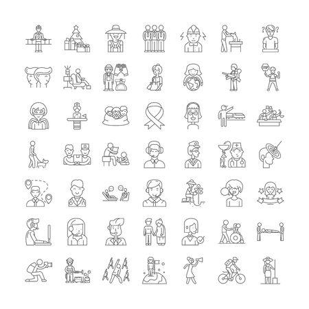 Volunteer line icons, signs, symbols vector, linear illustration set