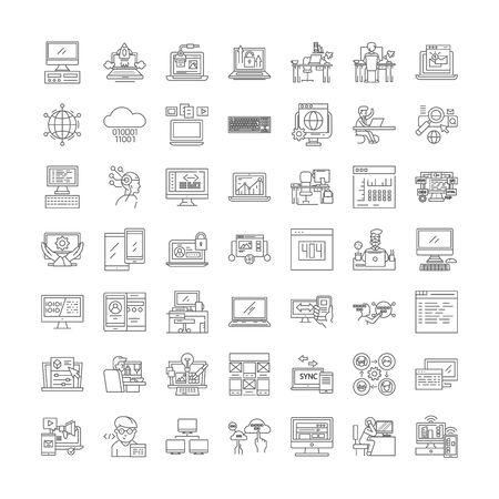 Web programming line icons, signs, symbols vector, linear illustration set