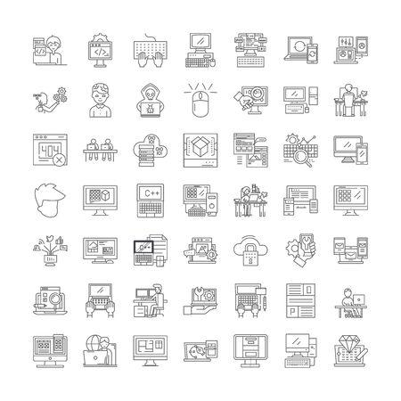 Web design line icons, signs, symbols vector, linear illustration set