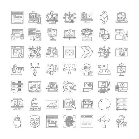 Website line icons, signs, symbols vector, linear illustration set