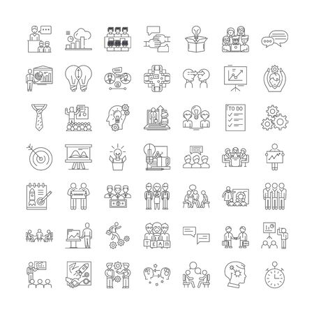 Workshop line icons, signs, symbols vector, linear illustration set