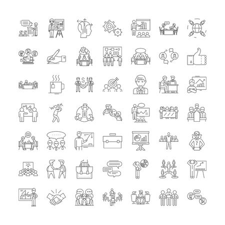 Master class line icons, signs, symbols vector, linear illustration set