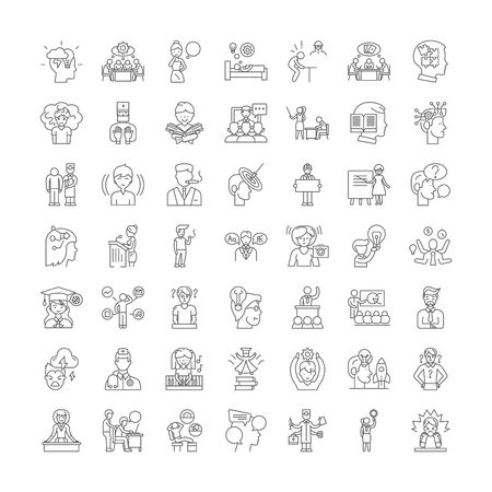 Brainstorming line icons, signs, symbols vector, linear illustration set