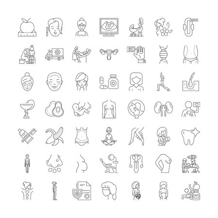 Womans healthcare line icons, signs, symbols vector, linear illustration set