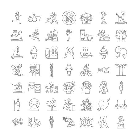 Weight loss line icons, signs, symbols vector, linear illustration set
