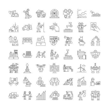 Workflow line icons, signs, symbols vector, linear illustration set Ilustracja