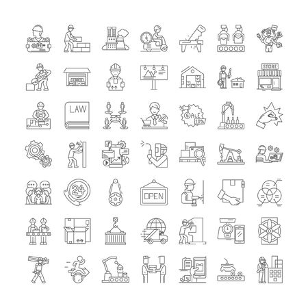 Business proccess line icons, signs, symbols vector, linear illustration set