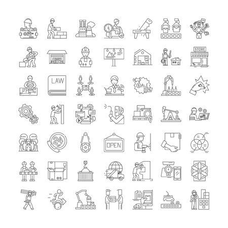 Business proccess line icons, signs, symbols vector, linear illustration set 版權商用圖片 - 134820444