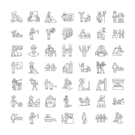 Working line icons, signs, symbols vector, linear illustration set