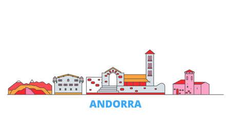 Andorra cityscape line vector. Travel flat city landmark, oultine illustration, line world icons