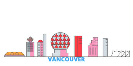 Canada, Vancouver City cityscape line vector. Travel flat city landmark, oultine illustration, line world icons