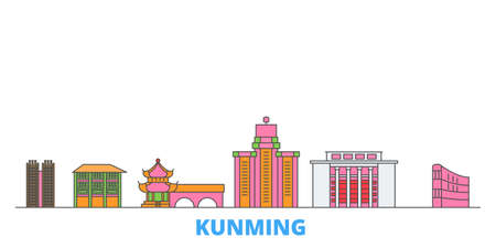 China, Kunming cityscape line vector. Travel flat city landmark, oultine illustration, line world icons