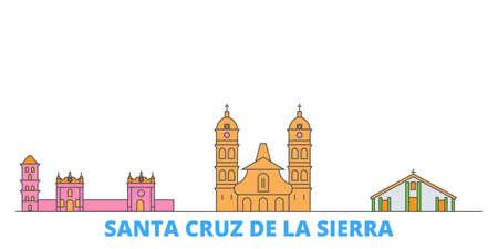 Bolivia, Santa Cruz De La Sierra cityscape line vector. Travel flat city landmark, oultine illustration, line world icons