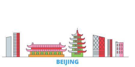 China, Beijing City cityscape line vector. Travel flat city landmark, oultine illustration, line world icons