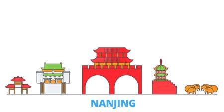 China, Nanjing cityscape line vector. Travel flat city landmark, oultine illustration, line world icons Illusztráció