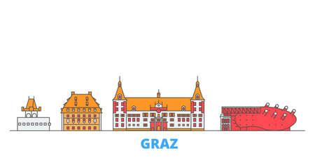 Austria, Graz cityscape line vector. Travel flat city landmark, oultine illustration, line world icons