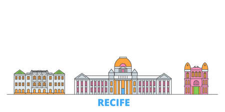 Brazil , Recife cityscape line vector. Travel flat city landmark, oultine illustration, line world icons