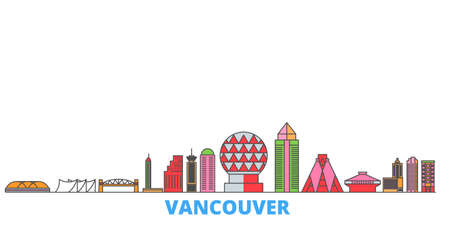 Canada, Vancouver cityscape line vector. Travel flat city landmark, oultine illustration, line world icons