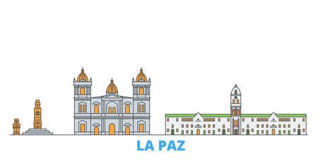 Bolivia , La Paz cityscape line vector. Travel flat city landmark, oultine illustration, line world icons Çizim