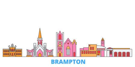 Canada, Brampton cityscape line vector. Travel flat city landmark, oultine illustration, line world icons