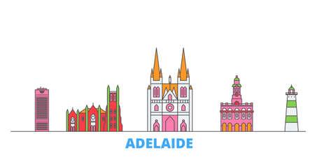 Australia, Adelaide cityscape line vector. Travel flat city landmark, oultine illustration, line world icons