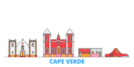 Cape Verde cityscape line vector. Travel flat city landmark, oultine illustration, line world icons