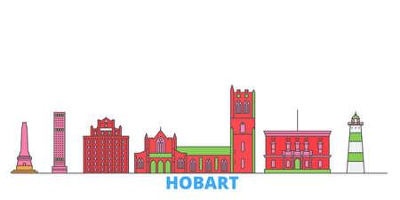 Australia, Hobart cityscape line vector. Travel flat city landmark, oultine illustration, line world icons Illustration