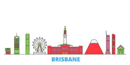 Australia, Brisbane cityscape line vector. Travel flat city landmark, oultine illustration, line world icons