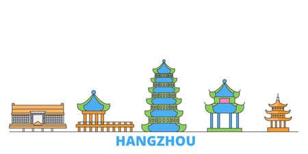 China, Hangzhou cityscape line vector. Travel flat city landmark, oultine illustration, line world icons Illusztráció