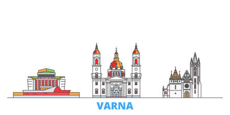 Bulgaria, Varna cityscape line vector. Travel flat city landmark, oultine illustration, line world icons