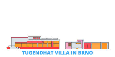 Czech Republic, Brno, Tugendhat Villa cityscape line vector. Travel flat city landmark, oultine illustration, line world icons