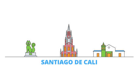 Colombia, Santiago De Cali cityscape line vector. Travel flat city landmark, oultine illustration, line world icons