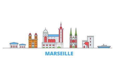 France, Marseille cityscape line vector. Travel flat city landmark, oultine illustration, line world icons Vektorgrafik