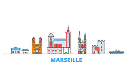 France, Marseille cityscape line vector. Travel flat city landmark, oultine illustration, line world icons Vector Illustration