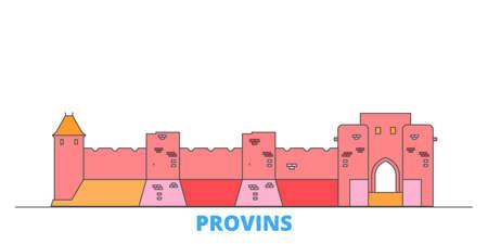 France, Provins Landmark cityscape line vector. Travel flat city landmark, oultine illustration, line world icons Illusztráció