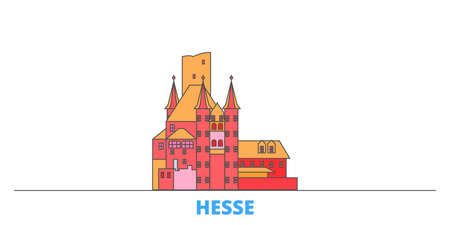 Germany, Hesse, Upper Middle Rhine Valley cityscape line vector. Travel flat city landmark, oultine illustration, line world icons Illustration