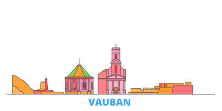 France, Vauban cityscape line vector. Travel flat city landmark, oultine illustration, line world icons
