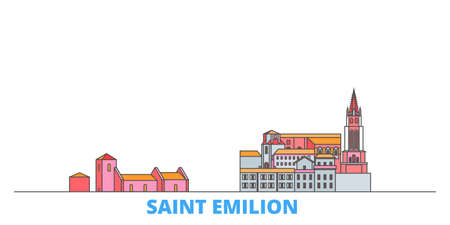France, Saint Emilion cityscape line vector. Travel flat city landmark, oultine illustration, line world icons