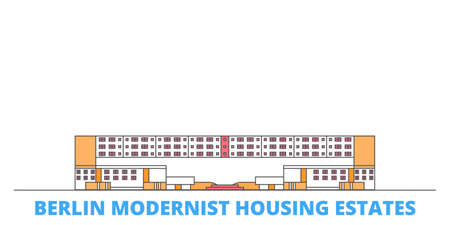 Germany, Berlin Modernist Housing Estates cityscape line vector. Travel flat city landmark, oultine illustration, line world icons