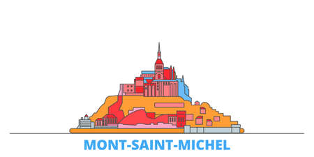 France, Mont Saint Michel And Its Bay cityscape line vector. Travel flat city landmark, oultine illustration, line world icons