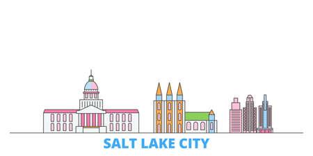 United States, Salt Lake City cityscape line vector. Travel flat city landmark, oultine illustration, line world icons