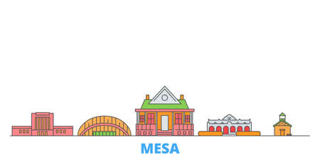 United States, Mesa cityscape line vector. Travel flat city landmark, oultine illustration, line world icons
