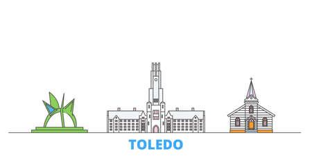 United States, Toledo cityscape line vector. Travel flat city landmark, oultine illustration, line world icons