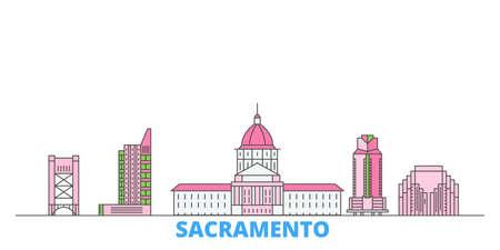United States, Sacramento cityscape line vector. Travel flat city landmark, oultine illustration, line world icons