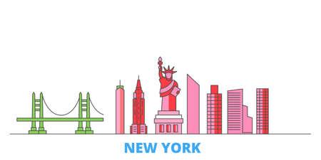 United States, New York cityscape line vector. Travel flat city landmark, oultine illustration, line world icons