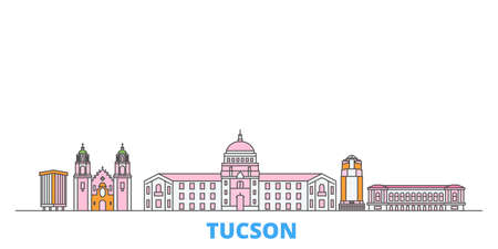United States, Tucson cityscape line vector. Travel flat city landmark, oultine illustration, line world icons