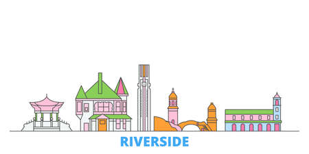 United States, Riverside cityscape line vector. Travel flat city landmark, oultine illustration, line world icons