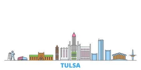 United States, Tulsa cityscape line vector. Travel flat city landmark, oultine illustration, line world icons Vektorové ilustrace