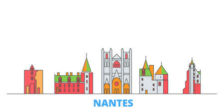 France, Nantes cityscape line vector. Travel flat city landmark, oultine illustration, line world icons Illustration